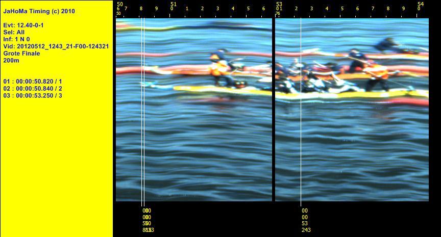 Vanaf een drijvend ponton opgenomen. Grote finale 200m. Close finish met 0,02 sec verschil.
