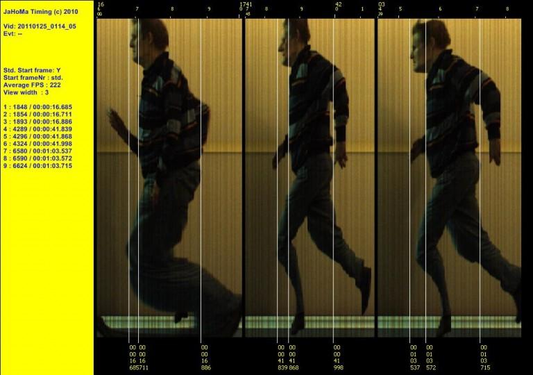 Finishfoto: Voorbeeld finish foto gemaakt uit een meer dan 200 beelden per seconden video opname.