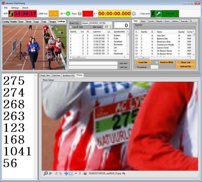 Met ingang van 2014 hebben we ook de finishfotos die we al langer maken gekoppeld aan onze Jahoma chiptiming applicatie en kunnen we deelnemers ook visueel identificeren.