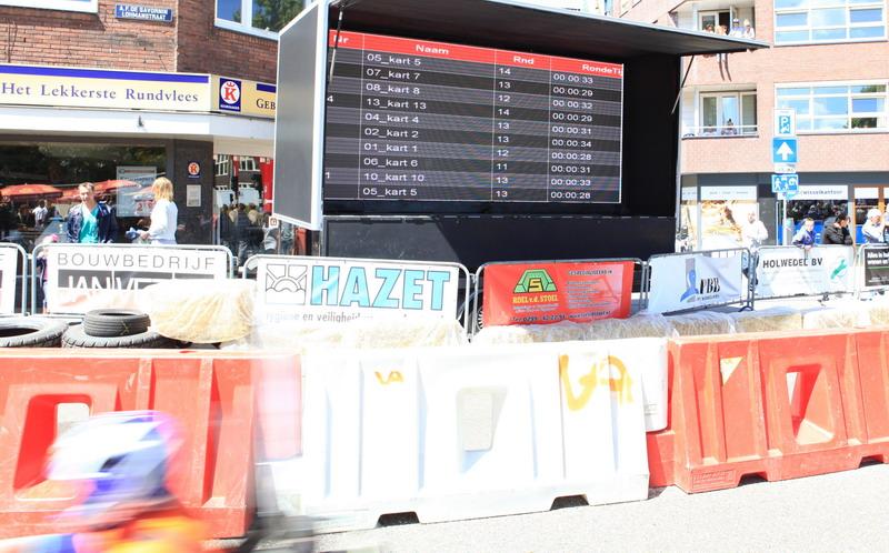 Scorebord via internet. De rondetijden van de rijders staan binnen enkele seconden op het scherm.