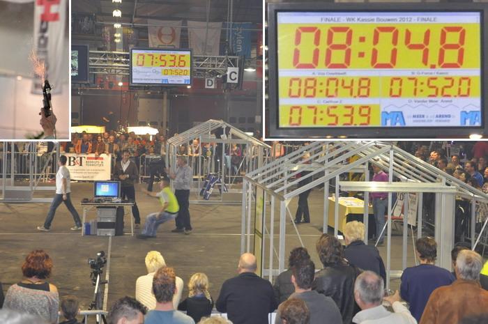 """Finale """"WK Kassie Bouwen 2012″ in Naaldwijk, Drie deelnemers binnen 10 seconden van elkaar klaar met bouwen. De winnaar is later pas bekend als de strafpunten per deelnemer bekend zijn."""